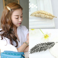 Wholesale 2PCS Vintage Style Sliver Gold Feather Hairpin Leaf Hair Clip Bobby Pin Barrette