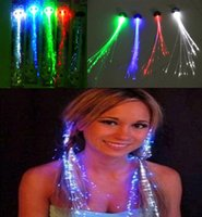 Wholesale Colorful Flash Braid Hair Luminous LED Hairwear Headdress Masquerade Festival Props Light Up Fiber Optic Hair Pigtail Christmas Gift