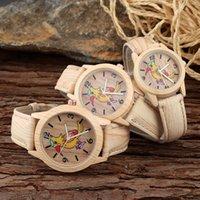 achat en gros de jaune montre genève-Mode Genève Femmes fille Mignon jaune cadran cadran bois de grain de style bracelet en cuir quartz montre 3 taille différente 150717-1