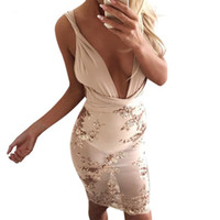 Wholesale Latest Club Night Women Dress Gold Sequins Bodycon Bandage Dresses Vintage Sleeveless Lace Up Back Robe Femme vestidos