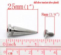 Wholesale 20 Sets Silver Tone Cone Bullet Spike Rivet Studs Spots mmx10mm mmx7mm seasons M63762 stud top