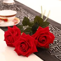 big bloom - 11pcs Big blooming Red rose Artificial Flowers Flocking Red Roses Display Flower for Home decorations Wedding Party Birthday