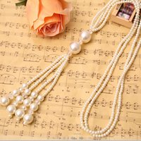 authentic sweaters - Imitate Pearl Necklace Vintage Authentic Korean Tassel Sweater Chain Fashion New Sexy Multi Long Jewelry For Women
