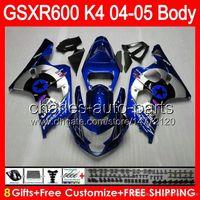 Wholesale Silver Blue Gsxr Fairings - Blue silver 8gifts Bodywork For SUZUKI GSX R600 04 05 GSXR 600 04-05 76HM2 GSXR-600 K4 GSX-R600 GSXR600 2004 2005 Fairing Kit New Blue star