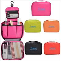 Wholesale Small Storage Compartments - 50pcs lot Women Toiletry Makeup Kit Storage Check Waterproof Cosmetic Bag Picnic Wash handbag Multifunctional Organizer travel check bag