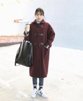 big horn coat - 2016 New Autumn And Winter Wear Korean Temperament Profile Slim Long Wool Cardigan Coat Female OutwearParagraph loose big yards horn button