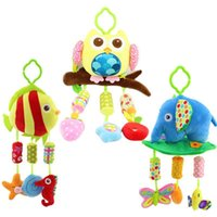 baby bedding fishing - 40cm Baby plush Owl lathe hanging bells Baby toy for bed with Wind chimes Owl elephant little fish soft toy WJ285 WJ287