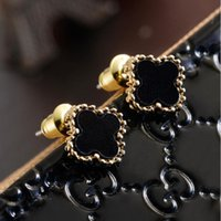 Wholesale New Fashion Jewelry Copper alloy Hot earring for women Clover Black leaf plant shape love Retro copper alloy Earring Stud