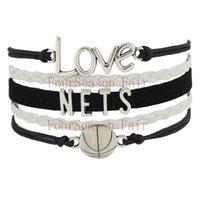 basketball nets team - Custom Infinity Love NETS Basketball Team Fans Bracelet Leather Wax Cord Wrap Wristband friendship Adjustable Bracelet Bangles Drop Shipping