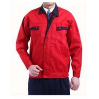 Wholesale Work Uniform Clothes Welding Vehicle Repair Superior Fabric Five Size Long Sleeve Safety Protective Clothing Bright Red and Blue Collar