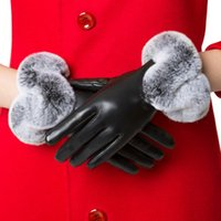 Wholesale Female autumn and winter full palm touch function leather gloves lovely Ms burrs quality PU leather gloves plus velvet thick warm windproof