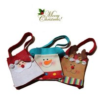Wholesale 2015 Santa Claus Snowman Deer Christmas Gift Bags New Year Decoration Wedding Candy Bag
