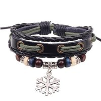 beaded jewelry manufacturers - Retro fashion cheap Leather Snowflake alloy Bracelet manufacturers supply beaded jewelry