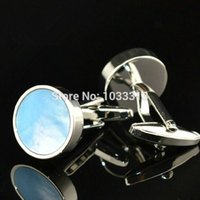Wholesale Luxury jewellry Shell blue Cuff Links Men Shirt Cuff Shirt Dress natural pearl Cufflinks wholesales high quality fathers gifts