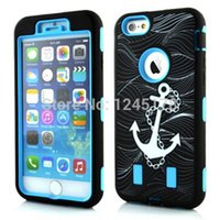 apple swirl - 1000pcs Anchor swirl Robot in Hybrid Shock proof Heavy Duty Defender PC Silicone back case skin cover For iPhone