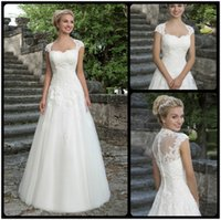 Wholesale Dramatic Tulle A Line Sweetheart Cap Sleeves Appliques Bridal Wedding Dresses Custom Made Long Wedding Dress Mariage Dress