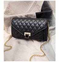 Wholesale 2016 new Korean classic temperament lattice chain bag all match fashionista gem Buckle Shoulder diagonal cross packet