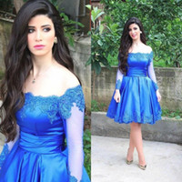 Wholesale 2017 Popular Short Blue Homecoming Dress Long Sleeve Off Shoulder Lace Satin Knee Length Girls Prom Gowns Custom Made