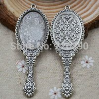 antique mirror tray - 5pc mm Oval Magic Mirror Reto Necklace Cameo Cabochon Base Settings Antique Silver Blank Tray DIY Jewelry Findings Y75