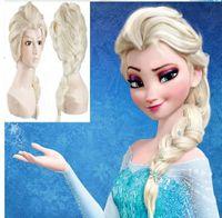 Wholesale Classic Halloween New Cartoon Movie Frozen Snow Wig Queen Anna Elsa Wig Long Braid Cosplay Anime Wig Ponytail