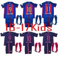 Wholesale Thailand Quality Barcelona Jersey kids Shirt sock Camiseta Nemmar JR Messi Suarez A Iniesta kids Sport Shirt