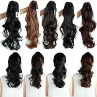 Wholesale clip in ponytail hair extension long curly wavy ponytails synthetic pony tail natural hairpieces inch
