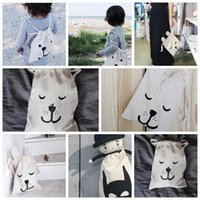 backpack laundry bag - INS storage bag Kids Canvas Bags School mini backpack portable Batman Bear Rabbit print Laundry Pouch snacks bags cm KKA778