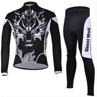 Wholesale Ghost Wolf Winter Thermal Fleece Cycling Ropa Ciclismo Invierno Cycling jerseysSuper Warm Bicycle Clothing Long GEL Pad Pants