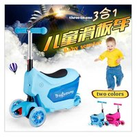 Wholesale Upgrade three in one with suitcase design baby scooter flashing wheels and height adjustable handle stick DHL
