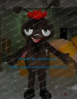 ant hat - Wicked Dark Brown Ant Pismire Cricket Grig Mascot Costume Cartoon Character Mascotte Adult Long Tentacles Red Hat ZZ980 Free Sh