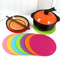 Wholesale 100 Colorful Wavy Non Slip Heat Resistant Mat Coaster Cushion Placemat Pot Holder Table Silicone Mat Kitchen Accessories DHL Free