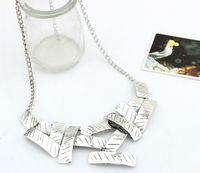 bid shipping - 2016 New European and American fashion Women Metal Geometrical Irregular Squares Pendant Chain Bid Choker Necklace
