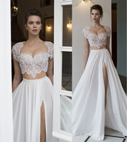 Wholesale two piece wedding dresses sexy side split heavily embellished beaded bodice sweetheart neckline cap sleeves A line wedding gowns