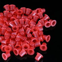 Wholesale Red Professional Plastic Tattoo Ink Cups Caps X8X9mm Tattoo Pigment Caps Disposable Accessories