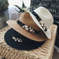 Wholesale Hot Fashion party hat sun hat summer beach hat Rafi straw hat Women spring and summer wave short brim sun hat