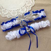 beaded keepsakes - Royal Blue Wedding Garter Set Rhinestone Beaded Bridal Garter Satin Ribbon Bow Keepsake Garter Toss Garter For Prom Wedding Accessories