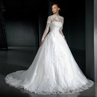 aline lace wedding dresses - Sheer High Neck Wedding Dresses With Jacket Lace Appliques Long Sleeves Lace Up Bridal Gowns ALine Illusion Chapel Train Tulle Wedding Gowns