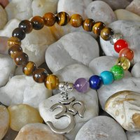 anxiety eye - Gemstone Chakra Buddha Lotus bracelet OM yoga bracelet chakra bracelet tiger s eye crystal protection anxiety healing abundance stone