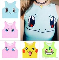 Wholesale Poke Mon Tank Tops Girls Cosplay Costume Pocket Monster Sailor Moon Crystal Cute Crop Tops Vest Tank Tops Shirt