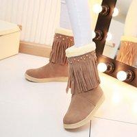 Wholesale Fashion Flat Heel Half Women Boots Shoes Short Knee Plush Winter Boot Woman Tassel Warm Snow Boots Footwear Size K00312