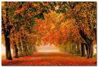 autumn path - A847 Red Fallen Leaves Forest Path Autumn Nature Art Silk Poster x36inch