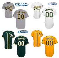 athletic logos - Custom Baseball Jersey Oakland Athletics gray white yellow green custom embroidery sewn Logos