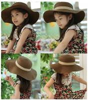 Wholesale Hug Me Kids Hats Summer Baby girl straw sun hats sunhats for kids wide brim beach hat Children caps