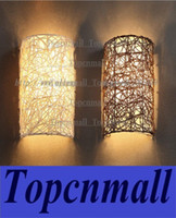 Wholesale cm Height Handmade Rattan Wall Lamp White Brown Color Mental Wall Sconce Light E14 Light Modern Nordic Style LYH502