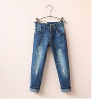 baby blue skinny jeans - 1501545 New Spring Baby Girls Jeans Distressed Solid Girls Pants Denim Skinny Children Clothes Supplier