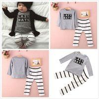 newborn vests - 2pcs Newborn Toddler Baby Girl Boy Romper Jumpsuit Outfits letter t shirts casual stripe pants Playsuit Clothing Set