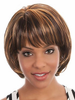 Wholesale Super Cheap black and brown short synthetic u part none lace hair bob wig with fringe for black woman