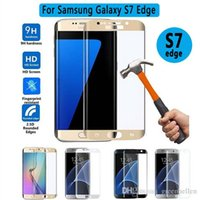 Wholesale High permeability Curved Tempered Glass HD dustproof for Samsung Galaxy S7 Edge Screen Protector Full Coverage Glass for Galaxy S7 Edge good