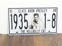 Wholesale The Hillbilly Cat Elvis Presley s Birthday Number Metal Sign License Car Plate Home Bar Pub Cafe Wall Decor Art Poster