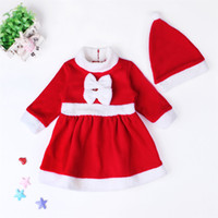 Wholesale Christmas high quality fashion Three Quarter Sleeve Boys clothes and Girls skirt set red new hat set Children s Christmas dress clothing